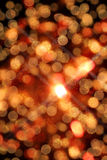 Blurred circular lights bokeh and snow flake for christmas background. Stock Photography