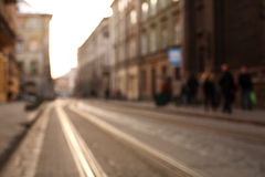 Blurred city background the street of old town at sunset Royalty Free Stock Photo