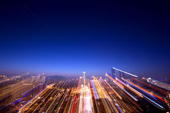 Blurred city building at night Stock Image