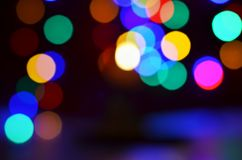 Blurred city color light bokeh background stock images