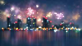 Blurred city and fireworks Royalty Free Stock Photos