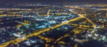 Blurred city lights bokeh. Aerial view urban night light bokeh. Stock Image