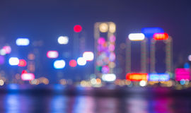 Blurred city lights bokeh cityscape Stock Photo