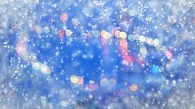 Blurred City lights through frozen window and snowfall. Aomputer generated abstract christmas background Stock Photography