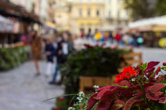 Blurred city and people urban scene, focus on foreground Royalty Free Stock Photography