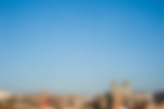 Blurred city skyline. Abstract blurred view of a european city in a beautiful sunny day. With copy space it is the ideal image to use as a background for event Royalty Free Stock Photography