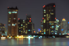 Blurred City skyline at night Royalty Free Stock Photography