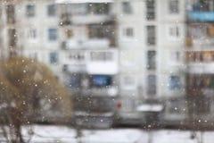 Blurred city snowfall Stock Photography