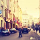 Blurred city street Stock Photo