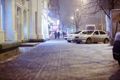 Blurred  city street. winter night Stock Photography