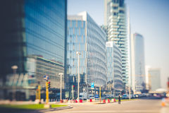 Blurred city tilt shift Stock Photo