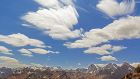 Blurred clouds in the mountains. TimeLapse. Pamir stock video