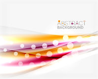 Blurred color waves, lines. Vector abstract background template Royalty Free Stock Photos