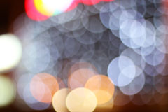 Blurred colored highlights. Background blurred city lights of different colors at night Royalty Free Stock Photography
