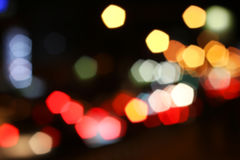 Blurred colored highlights. Background blurred city lights of different colors at night Royalty Free Stock Image