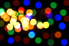 Blurred colorful lights over black Stock Photography