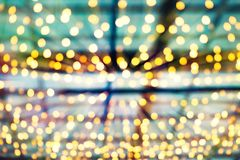 Blurred colourful bokeh lights stock images