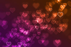 Blurred colourful heart signs defocused background Stock Photography