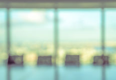 Blurred conference room for background stock photography