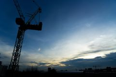 Blurred of Construction with sunset for background royalty free stock images