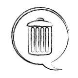 blurred contour dialogue box with silhouette metal trash bin Stock Photos