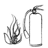 Blurred contour fire flame and extinguisher icon Stock Photography