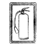 Blurred contour signal with silhouette fire extinguisher icon. Illustration Stock Photo