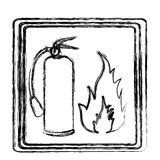 Blurred contour signal silhouette fire flame and extinguisher icon Stock Photography