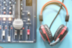 Blurred In the control room audio system. Stock Image
