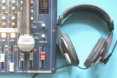 Blurred In the control room audio system. Royalty Free Stock Image