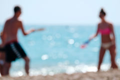 Blurred couple at beach. Royalty Free Stock Images