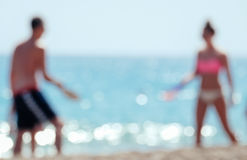 Blurred couple at beach. Royalty Free Stock Photos
