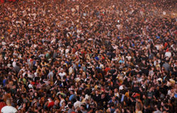 Blurred crowd at a concert Stock Photo