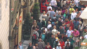 Blurred Crowd of People On Street, General Public Concept. With Unrecognizable Crowded Population out of Focus, Vintage Tone stock video footage