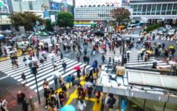 Blurred Crowd of People On Street at Shibuya,Tokyo,Japan,Vintage Royalty Free Stock Photos