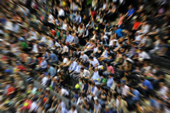 Blurred crowd of spectators on a stadium tribune Stock Photo