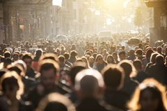 Blurred crowd of unrecognizable at the street royalty free stock photo