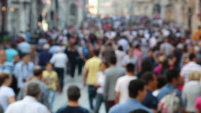 Blurred crowded people on the street stock footage