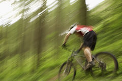 Blurred Cyclist On Countryside Track. Low angle view of a blurred male cyclist on countryside track Stock Image
