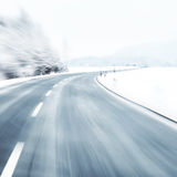 Blurred dangerous winter driving Stock Images