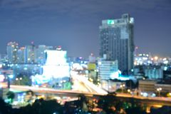 Blurred,Defocus of Bangkok City View at twilight background. Royalty Free Stock Photography