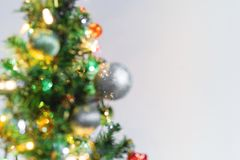 Blurred Defocus Bokeh of Christmas tree. Christmas decoration background with copy space. Blurred Defocus Bokeh of Christmas tree, Christmas decoration Royalty Free Stock Image