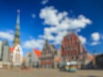 Blurred defocused background of Riga Hall Square Stock Images