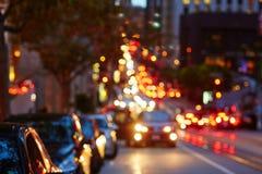 Blurred defocused car lights in San Francisco, California, USA Stock Photo