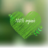Blurred defocused landscape background with green heart Royalty Free Stock Photography