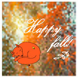Blurred defocused landscape background with sleeping fox and text Happy fall. Stock Photography