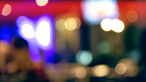 Blurred defocused of light in pub city abstract background with Stock Photos