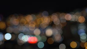 Blurred Defocused Lights. Of Heavy Traffic on a City Road at Night - Commuting Concept stock video footage