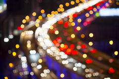 Blurred Defocused Lights of Heavy Traffic Stock Photo