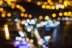 Blurred defocused lights of night city. Background royalty free stock photography